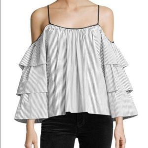 Parker Marielle Tiered-Sleeve Striped Blouse M